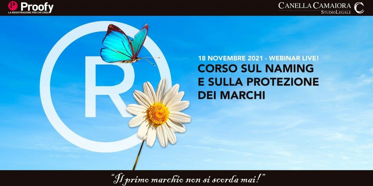 Locandina Corso sul naming e sulla protezione dei marchi