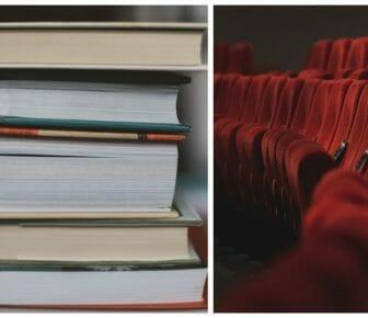 immagini libri e sala cinema